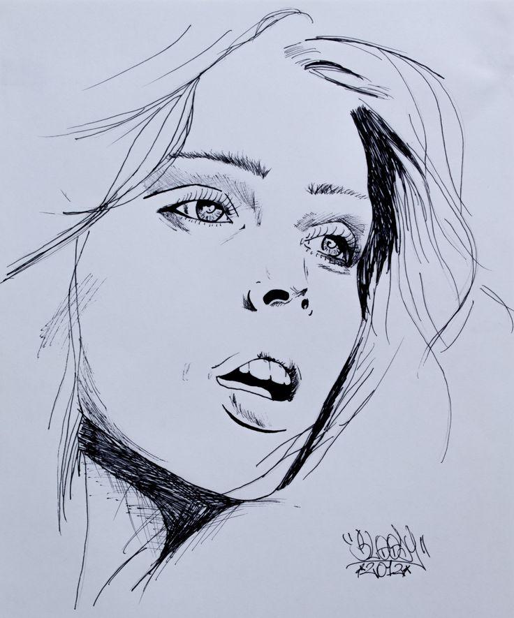 Ilustración de rostro a lapicero negro. Técnica: Lineal
