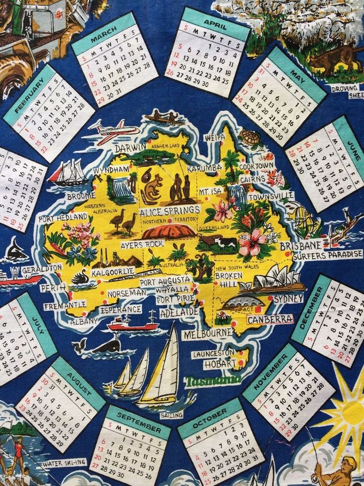 Vintage Tea Towel: Year 1981 Calendar    AUSTRALIA  Land of Sunshine Pure Cotton