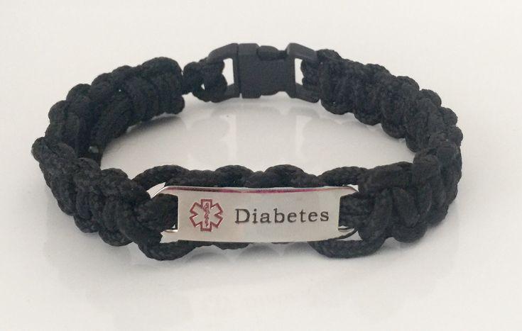 black paracord diabetes alert bracelet boys