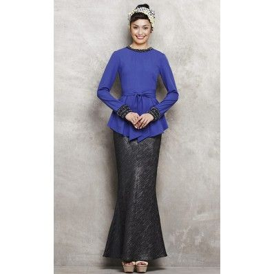 Baju Kurung with Studded Trim and Bow Peplum in Blue