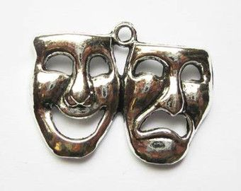 10% OFF  4 Drama Mask Charms Antique Silver Tone  CH201