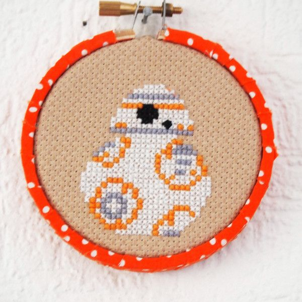 """fashionable-geekery: """"BB-8 Star Wars Inspired 3inch 8cm Cross Stitch Geekery Sci-FI Original Design Ready to Hang ❤ liked on Polyvore (see more star wars home decor)"""""""