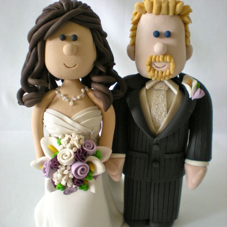 Customized Wedding Cake Toppers-Personalized Wedding Toppers-Cartoon Wedding Topper-Traditional Bride and Groom Cake Topper Figurines- Bride by nicolewclark on Etsy