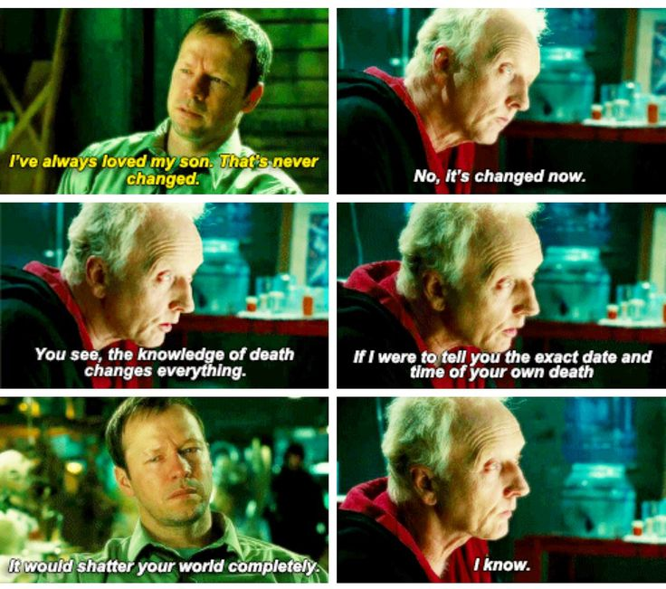 """Seems to me that the knowledge of your son's impending death is causing you to act. Forgive all his sins to wipe the slate clean. Why is it that we're only willing to do that when a life is at stake?"" -John Kramer. Saw II Detective Matthews, Tobin bell, Donnie wahlberg"