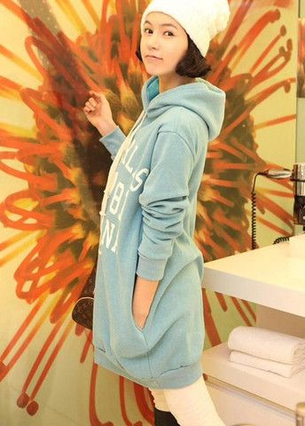 Vogue Plus Size Letter Print Thick Hooded Solid Sweatshirt Blue – teeteecee - fashion in style