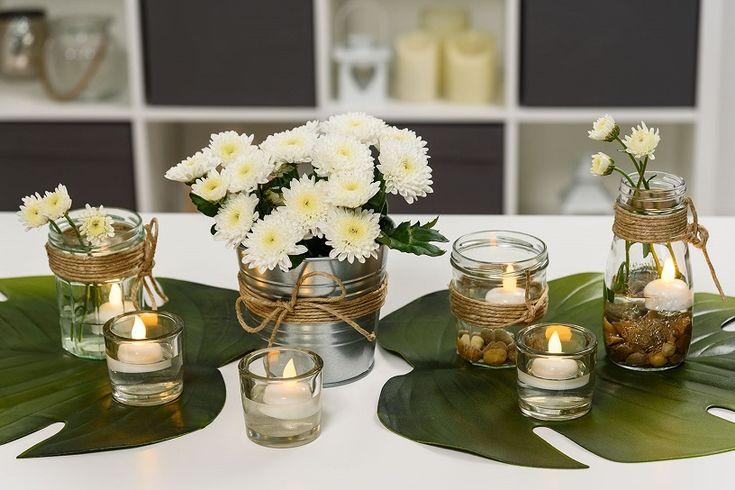 Centro de mesa DIY con flores y velas LED