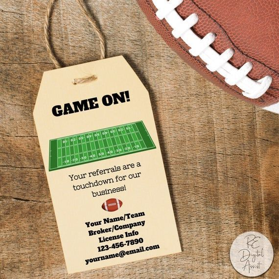 Real Estate Team Super Bowl Football Game On Printable Favor Tag Download Agent Broker Client Busin In 2020 With