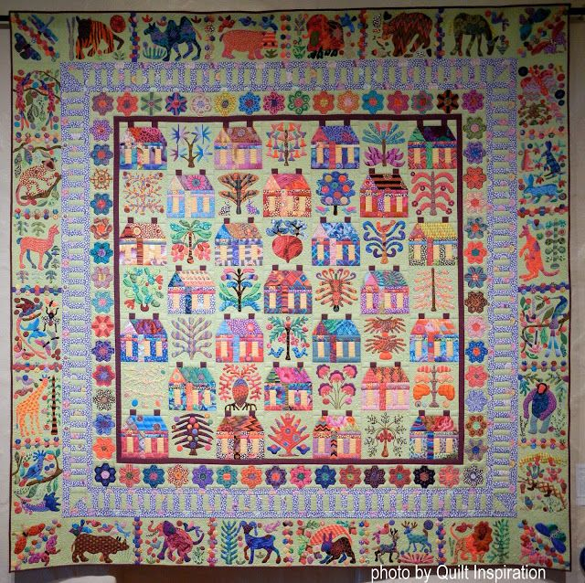 Village by Karin Crawford, quilted by Kim Peterson. Pattern by Kim McLean.  Photo by Quilt Inspiration: Best of the Utah Quilt Show! (part 2): Award of Excellence.