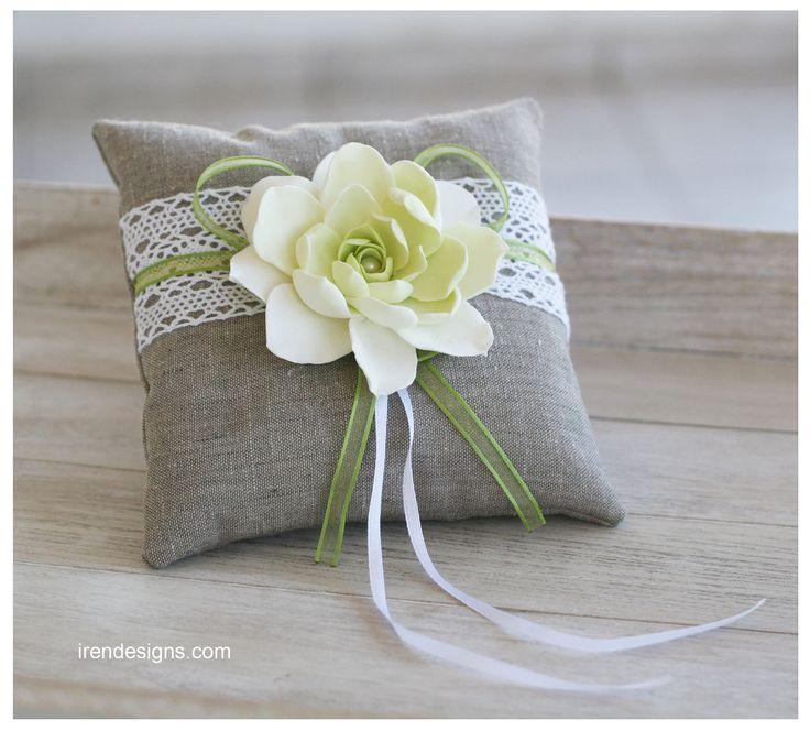 Rustic Ring Pillow. Linen Handmade Wedding Ring Pillow. €35.00, via Etsy.
