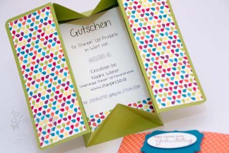 Stampin Up Box Card DSP Summer Smooches Sommerparty Perfekte Pärchen Gutschein Geburtstag gift card birthday Petite Pairs