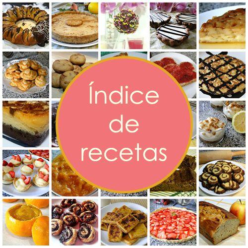 Índice de recetas Dulces Diabéticos
