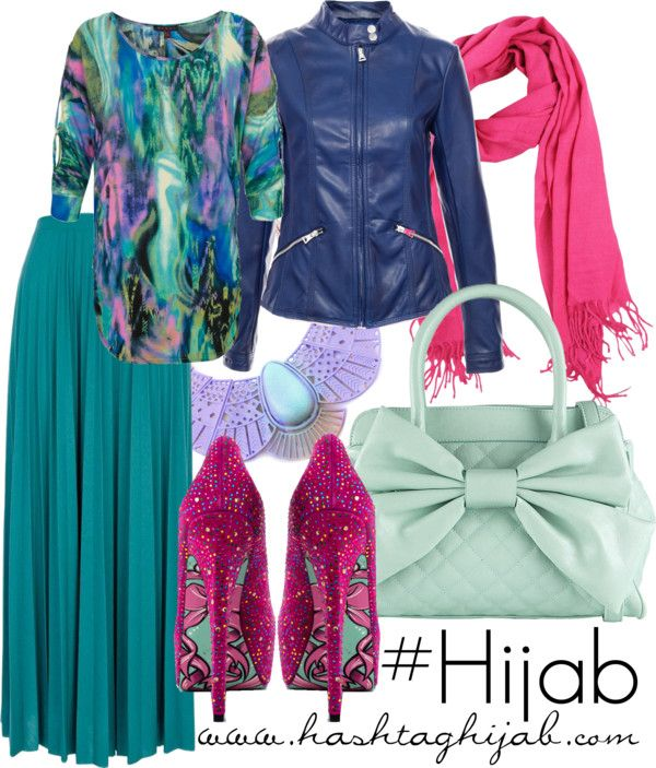 Turquoise skirt, printed shirt, navy jacket, hot pink scarf and heels, lavender/mint/pale blue accessories