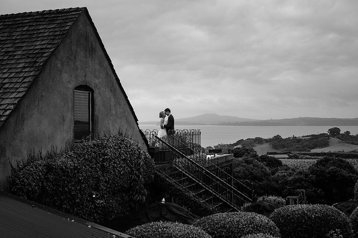 Romantic black and white wedding portrait | Mudbrick Vineyard & Restaurant, Waiheke Island, New Zealand