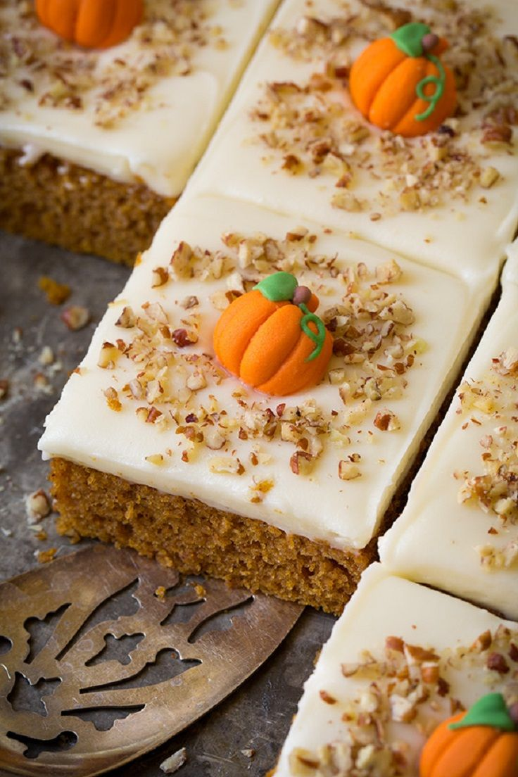 Pumpkin Sheet Cake with Cream Cheese Frosting - Thanksgiving Food List: 15 Creative Food Ideas for A Fabulous Thanksgiving Feast
