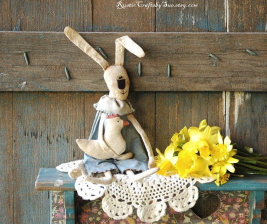 Primitive Bunny-Easter Bunny-Ester Decorations-Primitive Easter-Primitive Easter Eggs Garland-Rustic Wall Decor-Easter Wall Decor (32.00 USD) by RusticCraftsbySue