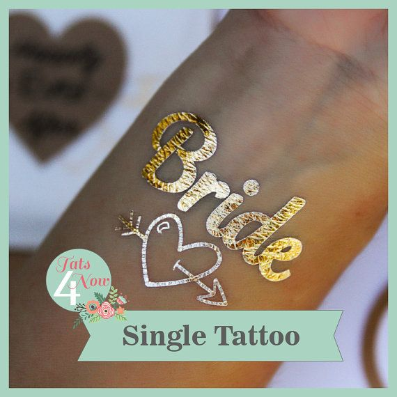 One (1) Bride Bachelorette party, gold tattoo, bachelorette tattoo ** Bride ** Gold Temporary Tattoo - SHIPS within 24 hours of order on Etsy, $2.50
