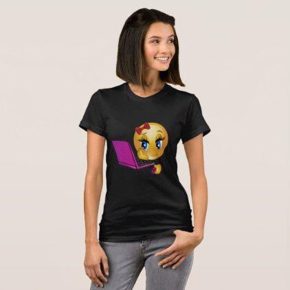 #Laptop Girl Emoji T-Shirt - #emoji #emojis #smiley #smilies