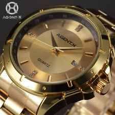 Gold Case Agentx Mens Luxury Date Sport Quartz Stainless Steel Watch+Gift Box