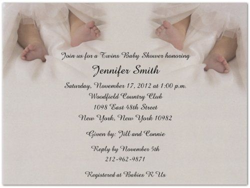 "Twin Toes Baby Shower Invitations - Set of 20 by Storkie Express. $35.80. Baby Shower Invitations: ""Twin Toes"" features two adorable sets of feet nestled in silver satin sheets. Great for a wide range of twin invitations and announcements."