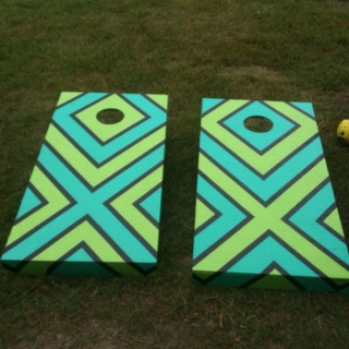 but i want gery light lime green and white stripes corn hole boards