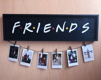 Friends tv show wood polaroid sign | rose gold
