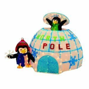 Animated Lighted Christmas Outdoor Igloo Penguins Inflatable 36 In New Christmas And