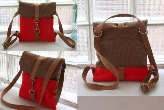 This genreDenis. convertible backpack/purse is handmade from tan and red-orangish corduroy. Straps and lining are made of natural cotton. It has two front pockets.    Measurement  Height: 11  Width: 10    Visit my facebook page for more styles and dont hesitate if you have any questions.  https://www.facebook.com/genreDenis    Please contact me for shipping infos if you are located outside of Canada or USA.      Thank you