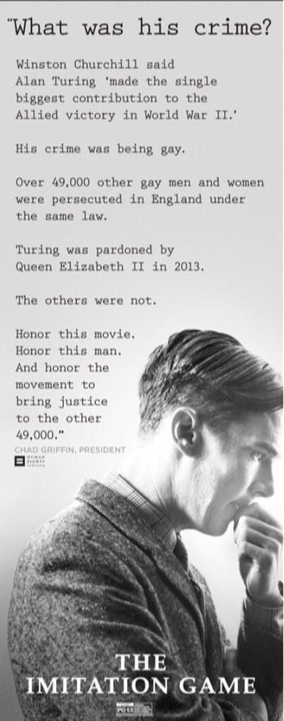 Pls sign this petition @stephenfry campaign & endorsed by @HRC #notjustturing @ImitationGame https://www.change.org/p/british-government-pardon-all-49-000-men-who-like-alan-turing-were-persecuted-and-criminalized-under-british-law-for-gross-indecency-section-11-of-the-criminal-law-amendment-act-1885-which-was-overturned-in-1967-which-prosecuted-them-for-being-gay?just_created=true …