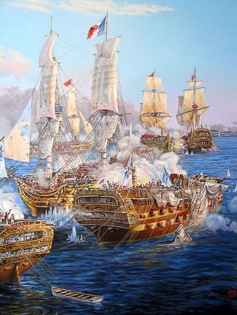 Los artilleros franceses apuntaron para el aparejo de un barco, usando el tiro de la cadena para desmontar y para inhabilitar una nave enemiga. Los artilleros británicos eran más despiadados, disparando un rayo y un bote en el casco del enemigo para matar a tantos hombres como fuera posible.