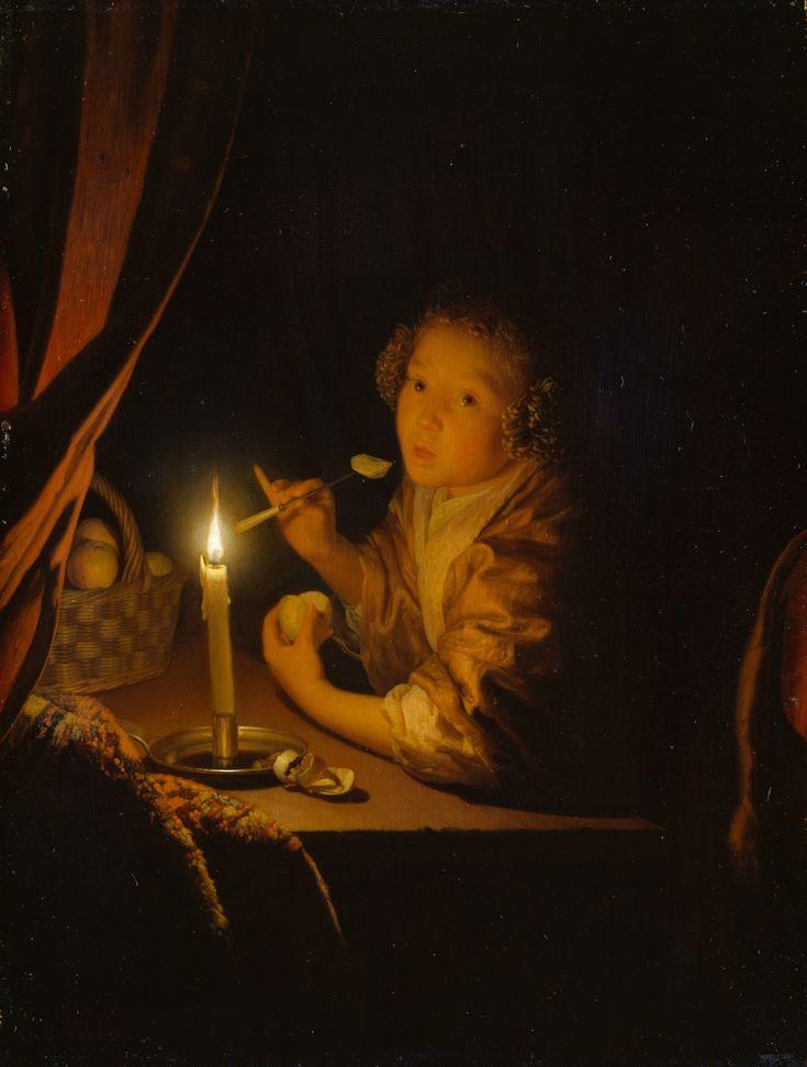 Godefridus Schalcken, Apfelesserin candlelight, 1675-79, oil on oak panel, Staatliche Museum Schwerin.