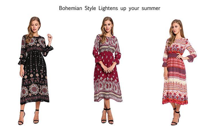 db8f76a3d37 Zeagoo Women s Bohemian Long Sleeve Button Print Casual Long Maxi Dress at Amazon  Women s Clothing store