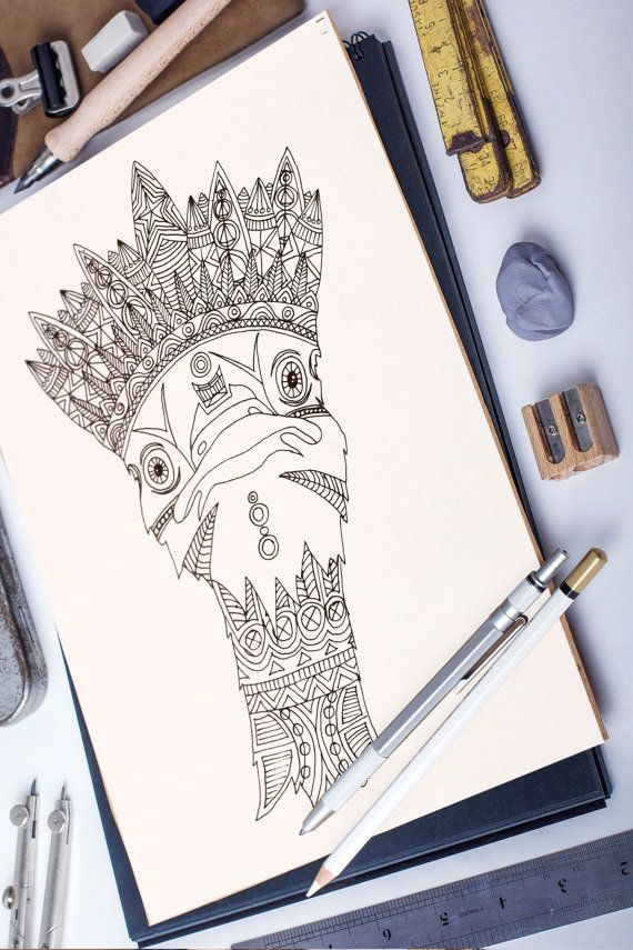 Ostrich King adult coloring page by ZuskaArt on Etsy