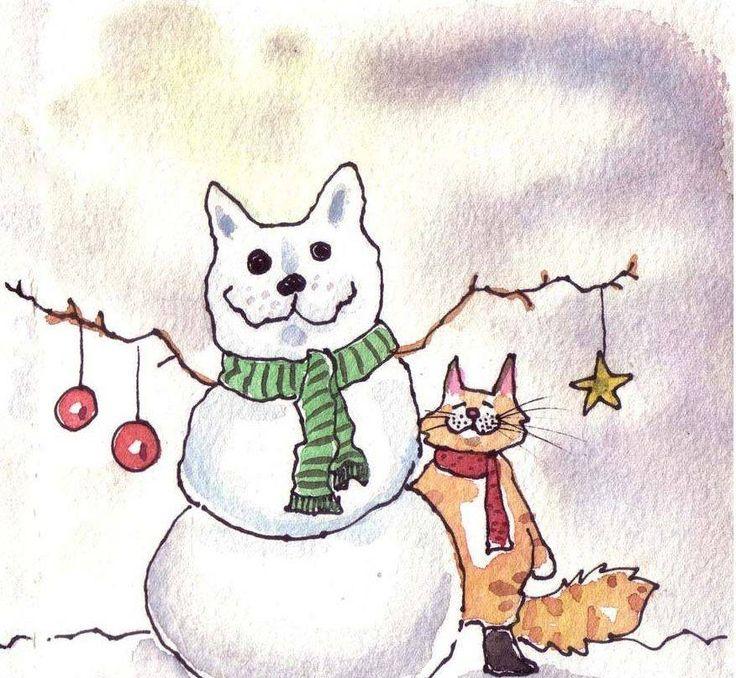 написано поздравление на новый год рисунок карандашом котики последних