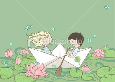 sailing on the lotus lake Royalty Free Stock Vector Art Illustration