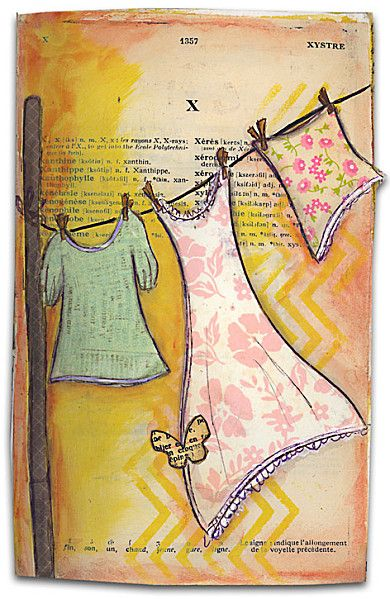 Laundry in the wind - art journal inspiration - clothes on clothes line.