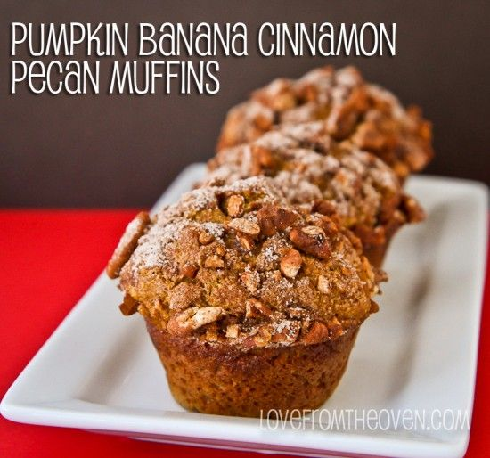 Pumpkin Banana Cinnamon Pecan Muffins by Love From The Oven