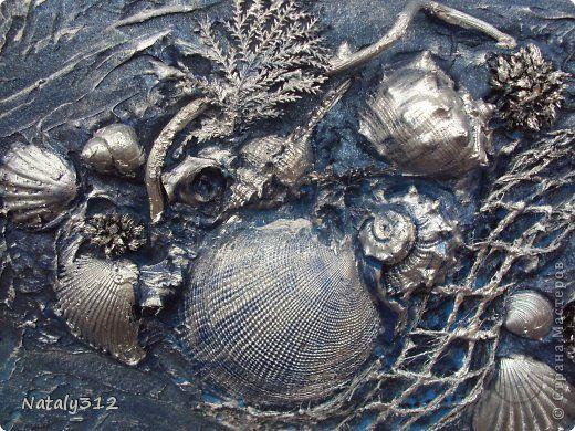 Картина панно рисунок Коллаж Морской коллаж в технике терра Гипс Материал природный Ракушки Сетка фото 3