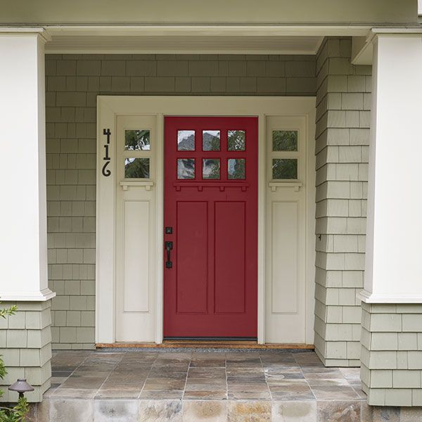color of the month november 2015 scarlet sage craftsman style front doorscolored - Front Door Photos Of Homes