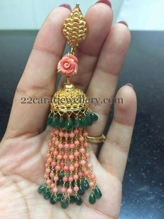 Jewellery Designs: Gold Jhumkas with Coral Beads