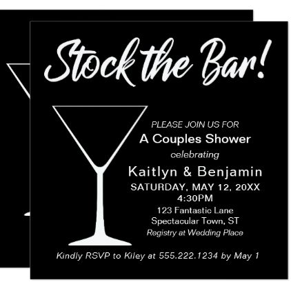 White on Black Stock the Bar Script Couples Shower Card - black gifts unique cool diy customize personalize