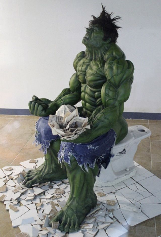 spotted in a mall in Seoul, South Korea (of course it was)  Hulk about to pop every blood vessel in his big, green body straining on a tankless crapper