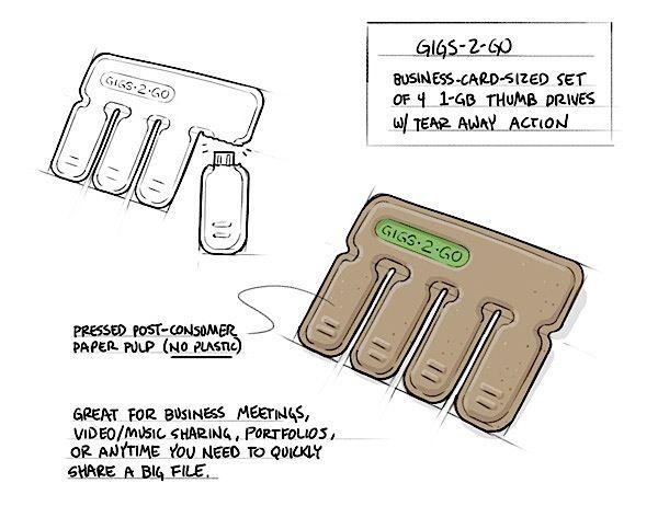 USB-Sticks zum Abreißen. Praktisch, oder? Das GIGS2GO wurde von Kurt Rampton und der BOLTgroup entworfen, ist so groß wie eine Kreditkarte, besteht komplett aus Pappe und enthält 4 USB-Sticks. Wenn man mal kurz jemandem ein paar Daten geben will, reißt man sich einfach einen davon ab und kann ihn sogar ...