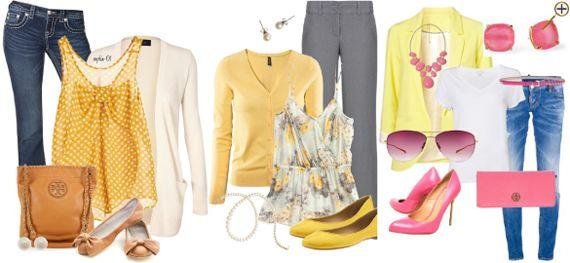 Сочетание желтого цвета в одежде Желтые оттенки могут быть светлыми и мягкими или яркими, а могут граничить с коричневым и оранжевым, как тона охры. Так же и сочетания могут быть пастельными или контрастно кричащими, как например черного и желтого, желтого и красного и т.д. Мягкие светлые тона можно сочетать с джинсовым, бежевым, голубым, розовым, фисташковым и т. д. Красивым контрастным сочетанием с мягким желтым будет темный или средний коричневый оттенок. С охрой сочетаются темно-синие…