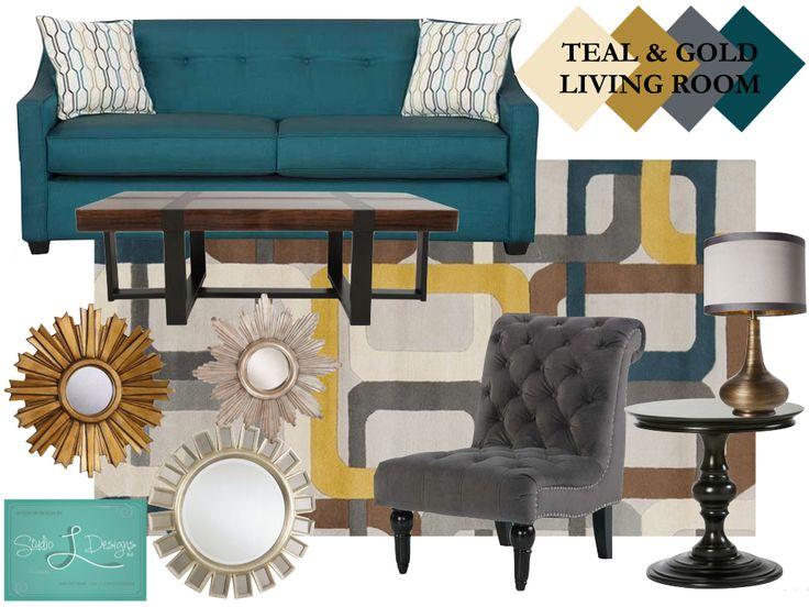 Teal gold & gray living room, Ethan Allen, AFW, Target ...