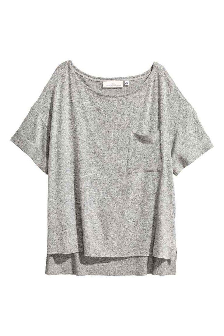 Wijd T-shirt met borstzak - Grijs gemêleerd - DAMES | H&M BE
