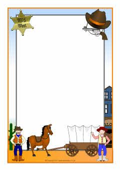 Wild West-themed A4 page borders (SB4496) - SparkleBox