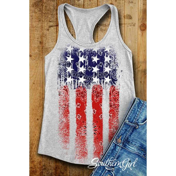 Flag Tank Tops Flag Shirts American Flag 4th of July Summer Tank Tops... (£17) ❤ liked on Polyvore featuring tops, grey, tanks, women's clothing, gray shirt, american flag tank, american flag shirt, checkered shirt and grey shirt