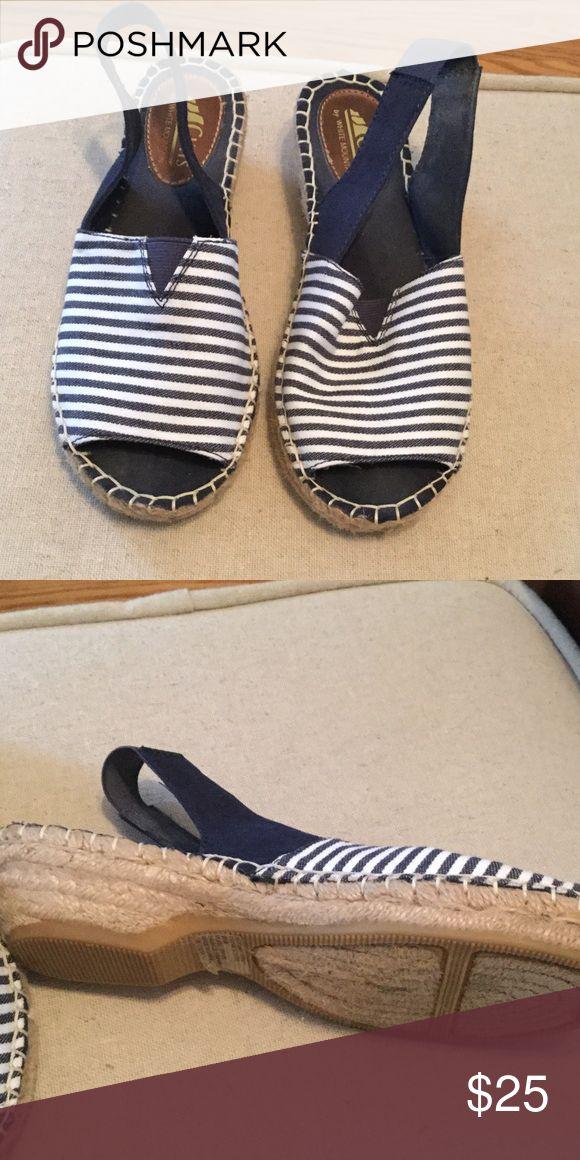 White mountain blue and white sandals White mountain sandals blue and white stripe, worn once 6.5.    Just like new white mountain Shoes Espadrilles