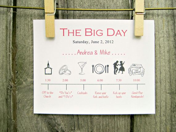 Hochzeit Tag Timeline Zeitplan der von OneTenStationery auf Etsy