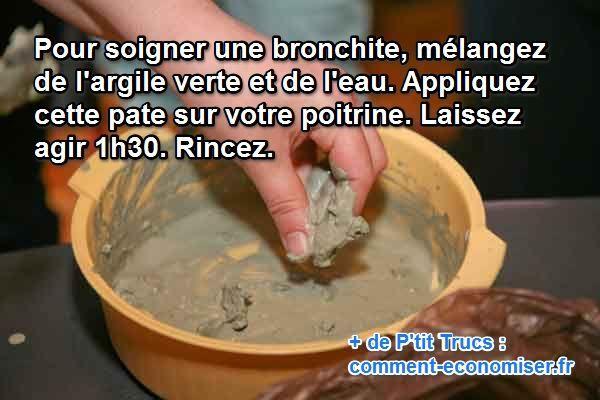 Dès qu'il y a un coup de vent, dès que la température se rafraîchit, hop ! La bronchite, c'est pour ma pomme. J'y suis tellement habitué que j'ai développé un super remède. Et l'argile verte est mon alliée la plus précieuse contre la bronchite hivernale.  Découvrez l'astuce ici : http://www.comment-economiser.fr/bronchite-hiver.html?utm_content=buffer6ffb1&utm_medium=social&utm_source=pinterest.com&utm_campaign=buffer